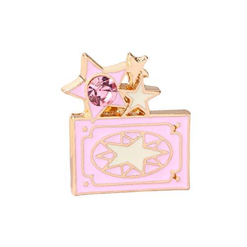 WYLBQM Broche Mode Tier Cartoon Broschen Schmuck Vielzahl Sakura Magic Caro Karte Captor Engel Flügel fünf Spitzen Stern Sticks Schlüssel Brosche Sakura Magic