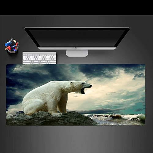 Mauspad Marine Eisbär Tier Große Gaming Mouse Pad Spiel Präzision Schloss Rand Skid Player Geschwindigkeitssteuerung Laptop Tastaturmatte, 30X70 Cm -