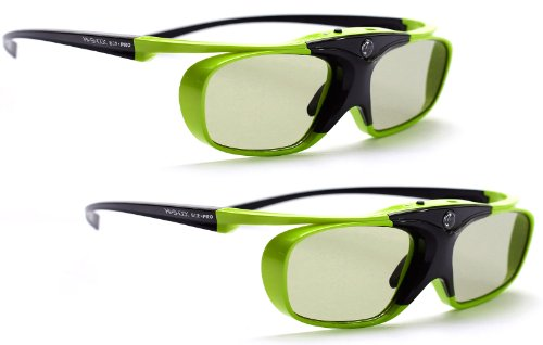2x Hi-SHOCK Lime Heaven DLP Link 3D Brille für DLP Projektoren / Beamer | HD optimiert ideal für Acer, BenQ, Viewsonic, Optoma, LG | Modell: YDD4PG, 96-200Hz, 32g, USB wiederaufladbar