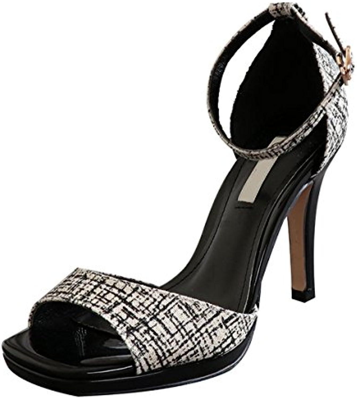 KPHY Zapatos de mujerLas Sandalias De Verano Sexy Boca De Pescado A Prueba De Agua De Mesa Tacon Alto Zapatos...