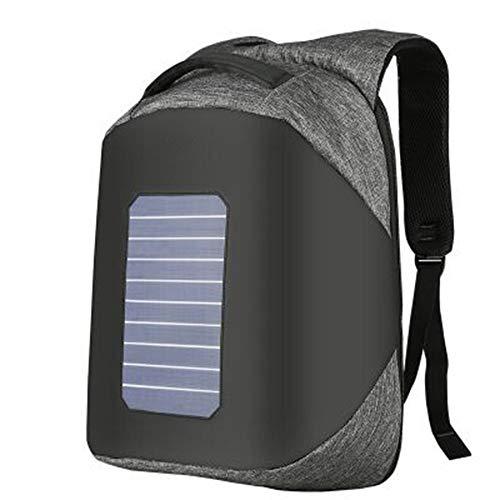 QWESHTU Solarpanel Laptop-Rucksack Mit USB-Ladeanschluss, Wasserabweisende College School Computer-Tasche Für Frauen Und Männer,Gray
