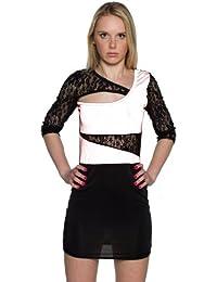 TrendClub100® Cut Out Minikleid Clubwear Mini Party Kleid Schwarz Weiß Schwarz Rot