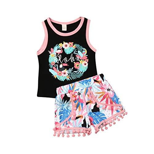 Baby Mädchen Sommerkleidung Gedruckte Ärmellos Weste Tops Kurzarm T-Shirt + Quaste Shorts Strand Bekleidungssets 2 Stück Baby Bekleidung Outfit (schwarz, 120)
