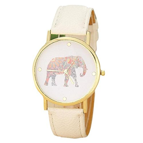 Amsion Moda relojes de las mujeres elefante Impresión cuero de la PU Reloj de cuarzo del dial (beige)