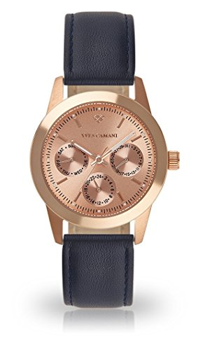 YVES CAMANI MADELAINE Women's Wrist Watch Quartz Analog Rosegold Stainless Steel Case Rosegold Dial (Leather - Dark Blue)