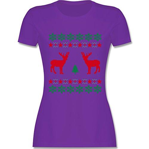 Weihnachten & Silvester - Norweger Pixel Rentier Weihnachten - tailliertes Premium T-Shirt mit Rundhalsausschnitt für Damen Lila