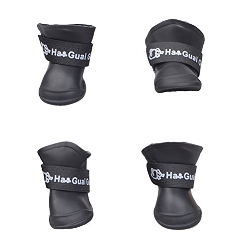 UEETEK Botas de lluvia para Perro mascota Colores dulces Zapatos de goma antideslizantes a prueba de agua para Pequeño perrito - Talla L (Negro)