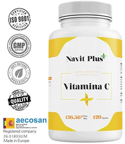 Vitamina C 1000 mg NAVIT PLUS. Integratore nº1 per contenuto di Vitamina C pura. Rinforza in modo naturale le tue difese e il tuo benessere. Somministrazione per 4 mesi. Capsule Vegetale. ISO9001.