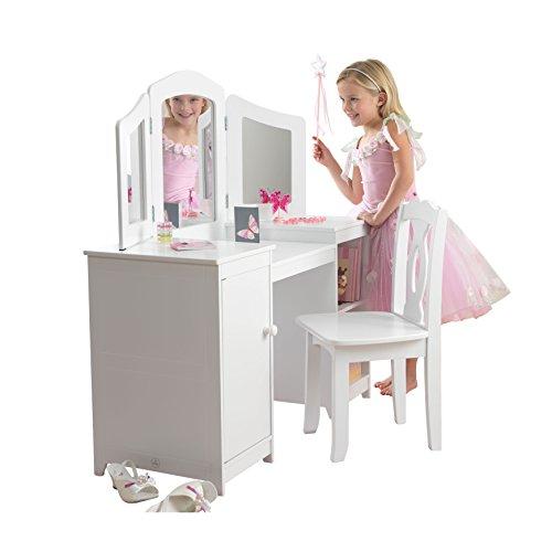 KidKraft 13018 Deluxe Frisier-/Schminktisch & Stuhl aus Holz für Kinder mit Spiegel und Stauraum - Kinderzimmer Möbel