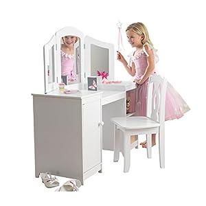 KidKraft- Juego de tocador con espejo y espacio de almacenamiento y silla de madera, tamaño mediano, para cuarto de juegos de niños/muebles de dormitorio Deluxe, Color Multicolor (13018)