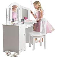 Preisvergleich für KidKraft 13018 Deluxe Frisier-/Schminktisch & Stuhl aus Holz für Kinder mit Spiegel und Stauraum - Kinderzimmer Möbel