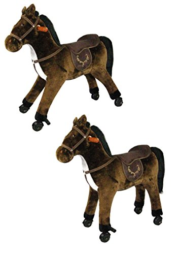 Reitpferd stabiles Pferd aus Plüsch mit Rollen und Sound