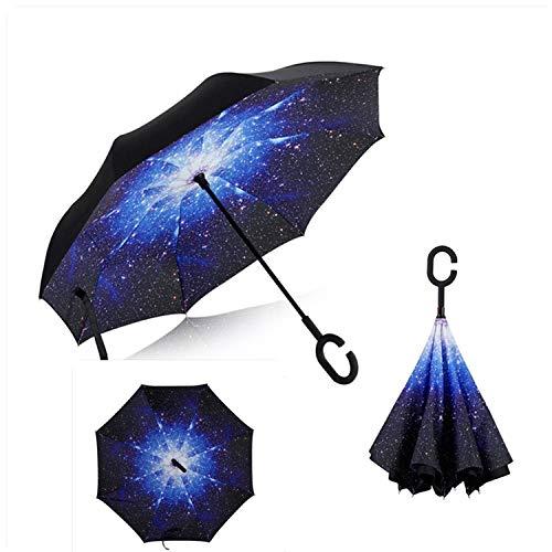 Capa Cielo Azul Doble invertido a Prueba de Viento protección UV Paraguas inversa, como Pic3