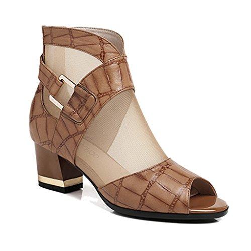 ZCJB Sandales Sandales Épaisses Avec Fil Net Bottes Mid Heel Femme Fish Mouth Sandals Chaussures Pour Femmes