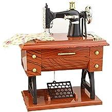 Hanbaili Mini Retro Máquina de Coser Pedal de la Vendimia Caja Musical Estilo de relojería Decoración