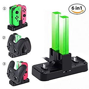 KINGTOP 6 in 1 Nintendo Switch Joy Con Ladestation Pro Controller Ladegrät Charging Dock mit LED Anzeige