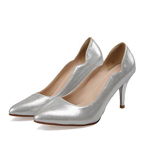 AllhqFashion Damen Rein Blend-Materialien Stiletto Ziehen Auf Spitz Zehe Pumps Schuhe Silber