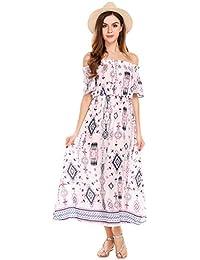f608ce05443880 Parabler Damen Standkleid Maxikleid Midikleid Sommerkleid Freizeit Kleider  mit Lang Rock