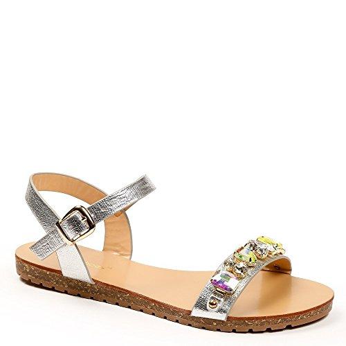 Ideal-Shoes Sandali piani, effetto glitterato, con cordoncino, motivo strass Vaea Argento (argento)