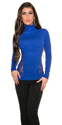 Maglia dolcevita lupetto donna con strass e inserto di trina collo alto tg.unica (Bluette)