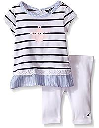 Nautica Baby Girls' Mini Stripe Top with Leggings