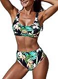 Aleumdr Costume da Bagno Donna a Vita Alta Costumi Donna Mare Due Pezzi con Stampa Floreale Bikini Donna Push Up