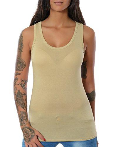 Damen Tank Top Shirt Ärmellos Spitze (weitere Farben) No 12658, Farbe:Beige;Größe:One (Alt Kostüme Ness)