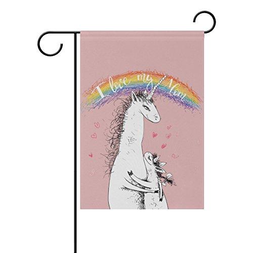 Double Face fête des mères licornes sur une coeurs Rose et d'un Polyester Rainbow House Garden Drapeau Bannière 12 x 18/71,1 x 101,6 cm pour fête de mariage tous les temps Moderne 28x40 multicolore