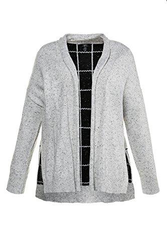 Ulla Popken Femme Grandes tailles | Gilet en maille chinée à manches longues et col châle | 713826 gris acier chiné