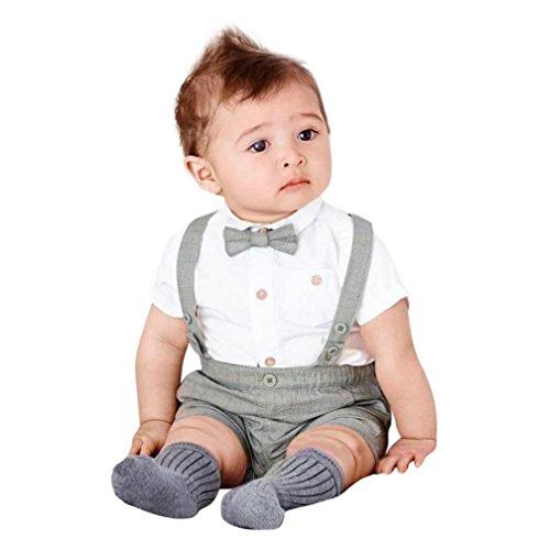 Jiameng-zi  camicia a maniche corte per bambini gentleman bowtie estiva e shorts con bretelle (6m, grigio)