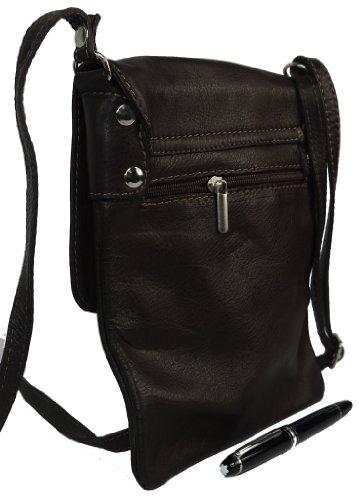 Italiano in morbida pelle, piccole e medie Messenger croce corpo o spalla borsetta.Include una custodia protettiva marca. Marrone (marrone)