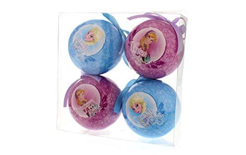 Disney frozen 7 cm decoupage palle con anna e elsa progettazione, confezione da 4, rosa / blu