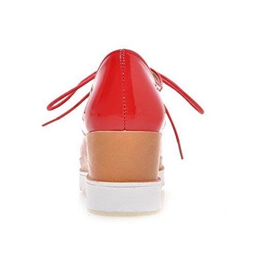 Carré À Couleur Chaussures Talon Lacet Rouge Unie Correct Pu Femme rHC6nr