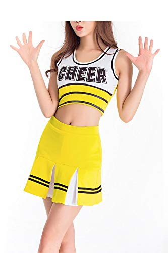 College Für Party Kostüm Halloween - Fadirew Damen Cheerleader-Kostüm, Outfit, College, Kostüm, Sport, Schule, Mädchen, Musikalische Uniform, Party, Halloween, Kostüm, Outfit, 5 Farben, 6 Größen, Damen, gelb, m