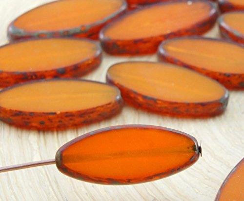 Amber Glas Schneiden (6pcs Picasso Bernstein-Gelb Opal, Flach-Oval, Blütenblatt Tisch am Fenster Geschnitten, Tschechische Glas-Perlen, 9mm x 20mm)