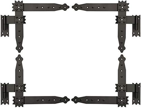 KOTARBAU Winkelband 250 x 230 mm mit Kloben 4 x Scharnier Fensterladenband Winkelscharnier Türband Torband Schwarz Pulverbeschichtet Fensterband