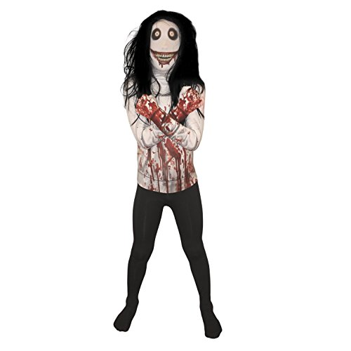 Morph Costumes KPJKL - Jeff the Killer Kind Morphsuit Verrücktes Kleid Kostüm, L, 136 - 152 cm (Slenderman Kostüm)
