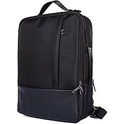 Hybride 4en 1Sac à Dos Sacoche Sac à bandoulière pour Apple MacBook Pro 38,1cm (2018)/ASUS Vivobook S15/MSI Gt63Titan 8RG 15.6pour Ordinateur Portable Noir