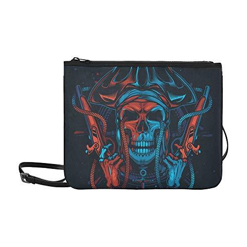 WYYWCY Heftiger Pirat und Hutmuster Benutzerdefinierte hochwertige Nylon Slim Clutch Crossbody Bag Umhängetasche