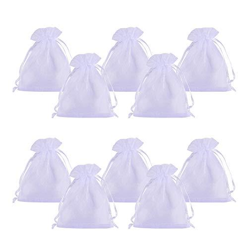 Pandahall elite 100pcs sacchetti organza sacchetti regalo sacchetti portaconfetti per fiesta matrimonio bomboniere colore bianco 8cm di larghezza, 10cm di lunghezza