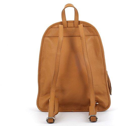 Laura Moretti - Lederrucksacktasche mit Quasten-Charm-Reißverschlüssen Leather