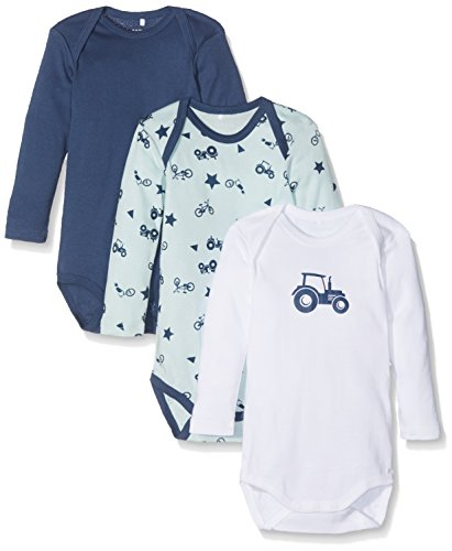 NAME IT Baby-Jungen Body NMMBODY 3P LS Ensign Blue NOOS, 3er Pack, Mehrfarbig, 80