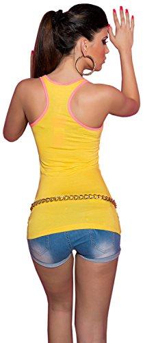 Koucla Damen Träger-Top einfarbig mit neonfarbenem Rand Einheitsgröße (34-40) Gelb