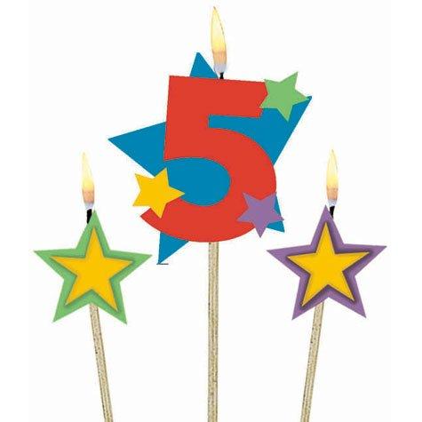 3 Geburtstagskerzen Sterne ZAHL 5