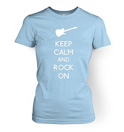 WoHerren Keep Calm and Rock On T-Shirt Light Blau