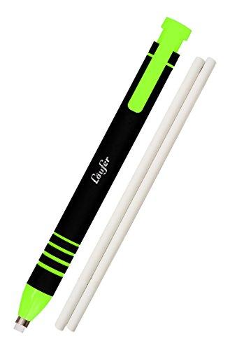 Läufer 69541 Radierstift grün, inkl. 2 Ersatzradierer, nachfüllbarer Radiergummi, sehr präzise, Blisterkarte enthält 1 Radierstift und 2 Ersatzradierer