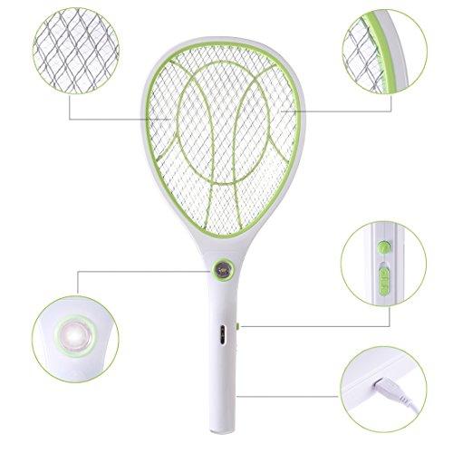 TETAKE Elektrische Fliegenklatsche, Extra Stark Fliegenfänger Moskito Zapper, Fliegenklatsche Elektrisch, Insekten Mörder, LED-Beleuchtung - USB Wiederaufladbar - ca. 3000 Volt