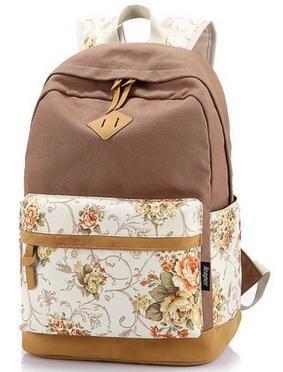 Imagen de icase4u® 2015 multi función moda  bolsa escolar tipo casual bonita de lona de viaje  de marcha para picnic para mujer o chica buena calidad flores caqui