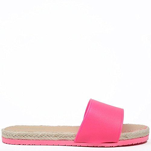 Ideal Shoes-Pantofole con suola in iuta Venicia intrecciata Rosa (Fucsia)