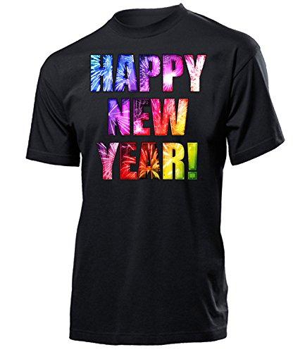 Happy New Year 5983 Herren T-Shirt 2018 2019 Silvester Polenböller Cobra Böller Feuerwerk Outfit Pyrotechnik Deko Knaller Hülsen Raketen Schwarz S